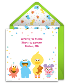 free sesame street online invitations | punchbowl, Party invitations