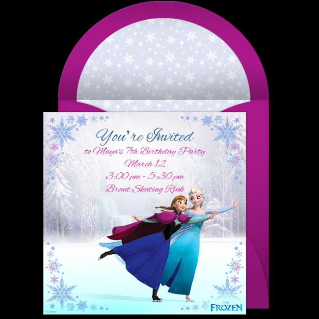Free Frozen Ice Skating Online Invitation Punchbowl – Punchbowl Birthday Invitations