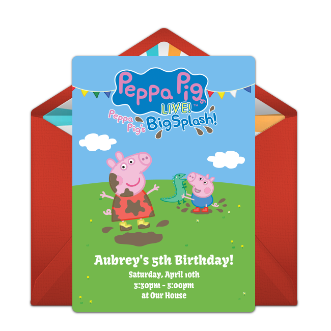 Free Peppa Pig Live Online Invitation Punchbowl – Punchbowl Birthday Invitations