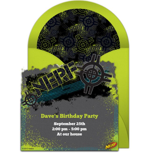 Free NERF Target Online Invitation Punchbowl – Punchbowl Birthday Invitations