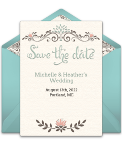Free wedding save the date evites mini bridal for Online save the date template free