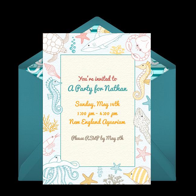 Free Under the Sea Birthday Online Invitation Punchbowl – Punchbowl Birthday Invitations