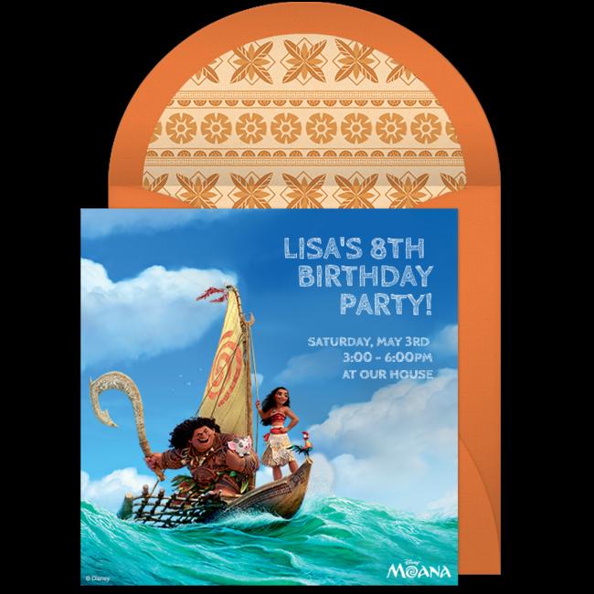 Free Moana Online Invitation Punchbowl – Punchbowl Birthday Invitations