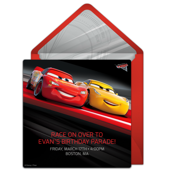 Free Cars 3 Online Invitation Punchbowl – Punchbowl Birthday Invitations