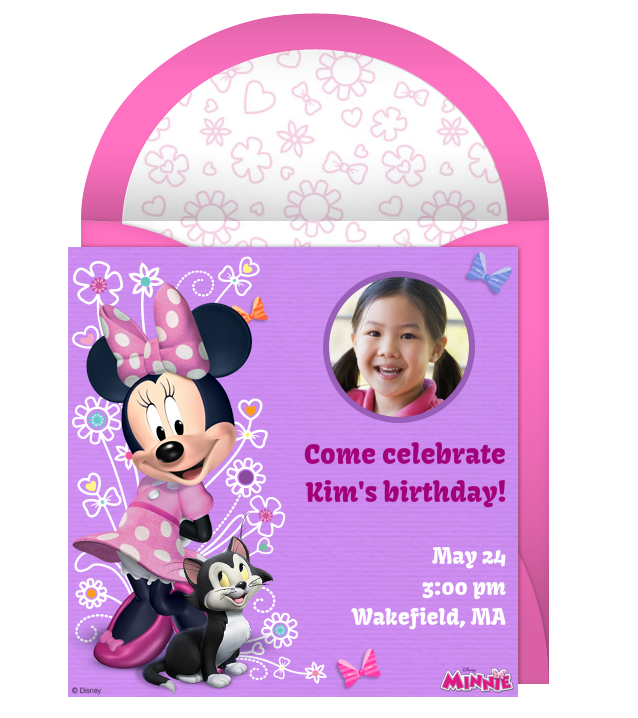 minnie mouse online photo invitation